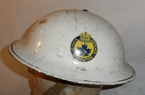MKII helmet manufactured by CLC and dated  1943. Marked to the EDMONTON Civil Defence (Warden), early decal.