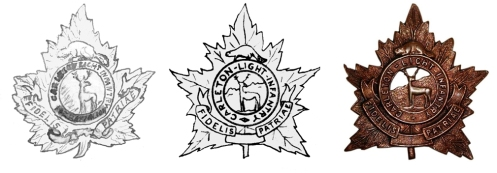 Fig 2 - (left to right)  Original 1920 design showing the battalion number crossed out. Final artwok for the 1920 design. Production badge (courtesy British Badge Forum)