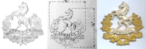 Fig 3 - Original drawing submitted by the CLI, note the gaps between the maple leaves and the horse. Design modified by HQ. The numerals, and title have been changed. An officer's badge in gilt and silver (courtesy Chris Brooker)