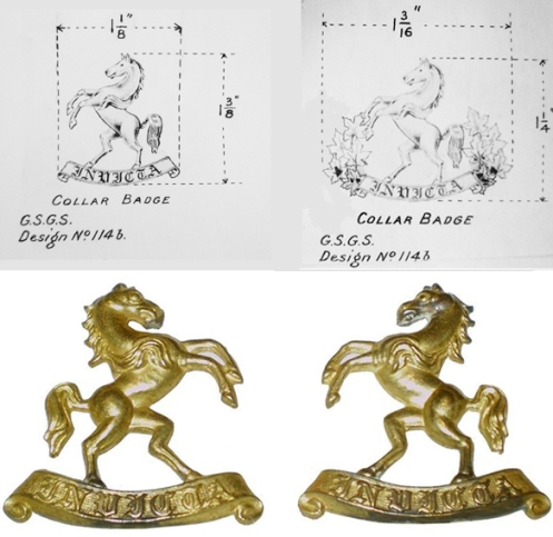 Fig 4 - Original collar badge design.  Proposed designs with the addition of maple leaves. Production badge (courtesy British Badge Forum).