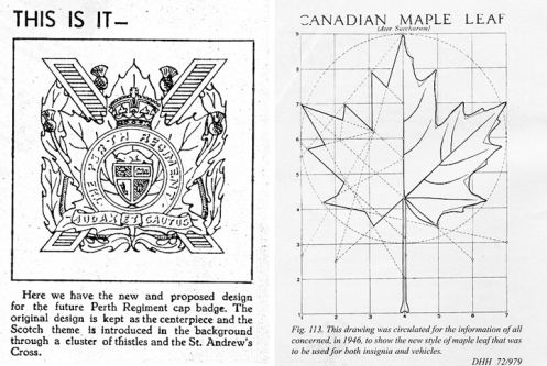 Capt Dent's design from The Perthonian and the official Maple Leaf design
