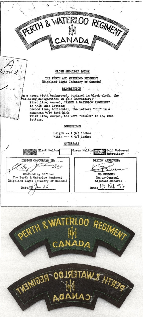 Top, Authorization of final 1957 pattern title Bottom, Short lived Perth and Waterloo Regiment flash