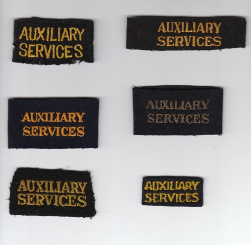 A variety of AUXIIARY SERVICES shoulder strap titles as worn by the Canadian Legion, the Catholic Army Huts (Knights of Columbus), Salvation Army and YMCA.