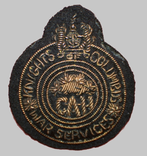 Wire embroidered cap badge for the Knights of Columbus. Courtesy Marway Militaria