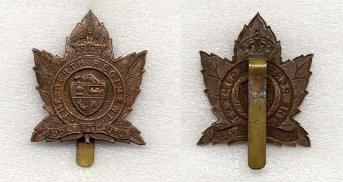 An example of a pre war cap badge with a slider attachment. This example was never fitted with lugs. During the 1930's there was a period of time when badge manufacturers adopted the use of sliders. It did not last long with them reverting back to the use of lugs as the preferred method of attaching a badge to headgear. Examples of Perth badges with sliders are quite scarce.
