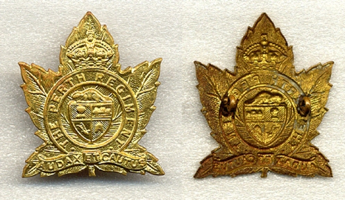 While brass was the preferred metal to be used for other ranks cap badges, the Perth's were one of the few units to have their badges primarily made in bronze. Brass examples do exist of the badges, and were likely manufactured during the war. There are no known examples of brass collar badges which suggest that these were made during the later part of the war when collar badges were not worn.