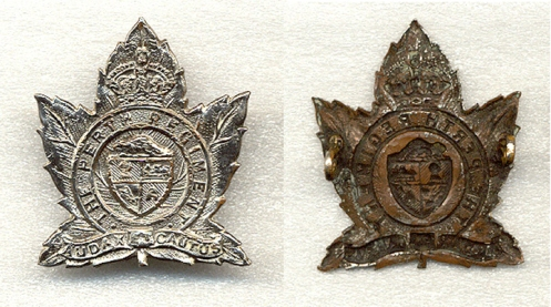 "While not a true variant, a number of badges were plated when the unit was in Italy to give them a high shine finish. Unlike some units that plated badges for the use of their regimental band, these badges were altered against regimental regulations. An entry in the regimental diary dated Jun 27 1944 noted that ""the silvering of cap badges will cease and personnel presently with white badges will polish them clean immediately"""