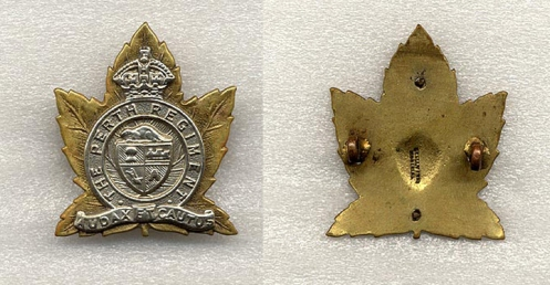 "The example pictured here is a two piece cast badge. The silver overlay is a separate piece ""pinned"" to the front of the badge. It is a solid backed badge with the manufacture stamping W Scully Ltd Montreal in the centre of the badge. The badge has lugs as a means of attaching the badge to headdress."