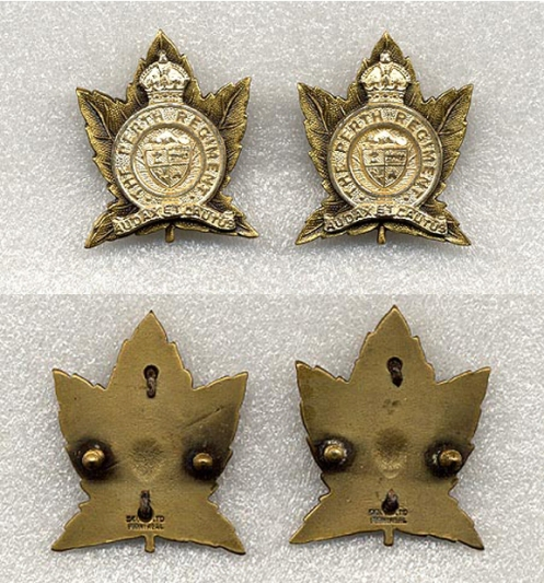 Officers' Collar badges. Scully manufactured frosted silver and gilt collar badges. Screw post backed.
