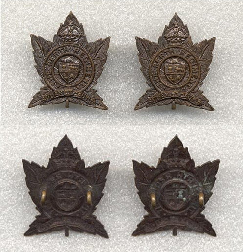 Other Ranks' Collar badges. No maker's mark but believed to be Scully. Note both beavers face left. Lug backed.