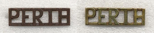 Left, Bronze shoulder title  Right, Brass shoulder titles