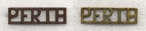 Left, Bronze shoulder title  Right, Brass shoulder titles