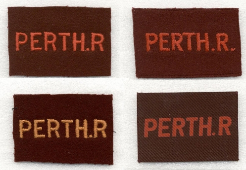 Top row, left, Embroidered single period. Right, Embroidered double period. Bottom row, Right, Embroidered single period (orange). Left, Printed single period.