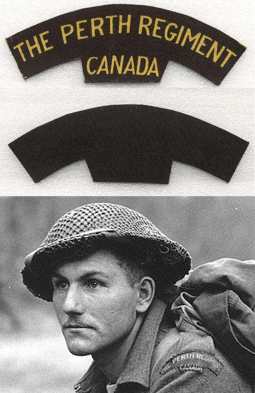 Top, Canvas shoulder title. Bottom, Pte Ken Earl wearing the printed canvas title Holland 1945 (note the absence of the divisional patch)