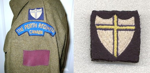Left, Original jacket with 8th Army patch  Right, Details of 8th Army patch