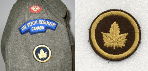 Left, Battledress of a Major attached to CMHQ  Right, Embroidered CMHQ patch