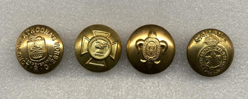 Examples of Regimental buttons. Left to right,  Lord Strathcona's Horse,  Hastings and Prince Edward Regiment, Regiment de Maisonneuve and the General Service button