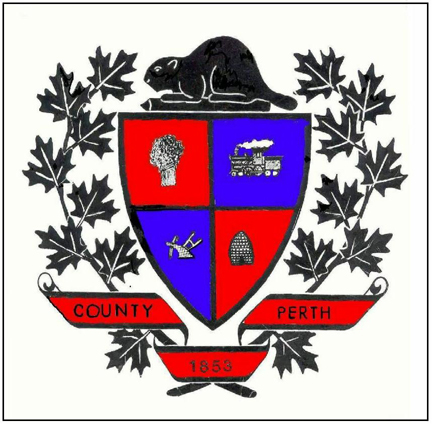 The county coat of arms consisted of a shield divided into 4 sections, each depicting a part of Perth county life. (Upper left) a sheaf of wheat representing agriculture and the main crop of the County at the time it was formed (Upper right) a train representing the progress of industry. The Grand Trunk Railway had their shops located in Stratford since 1870. (Lower left) two plows representing agriculture (Lower right) a beehive representing the industriousness of the citizens.