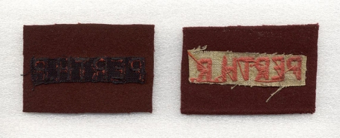 Details of the reverse of the distinguishing patches