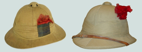 Two Second World War examples of helmets with 'embellishments'. Both of these were approved in the 1943 War Dress Regulations. Left, Royal Highlanders of Canada (Black Watch). Right, Governor General's Foot Guards.
