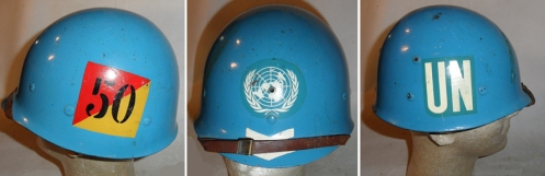 An M1 helmet liner used by a Royal Canadian Dragoons corporal serving with UNEF's Canadian  Reconnaissance Squadron, that served in the Sinai and Gaza in 1959. Author's collection.