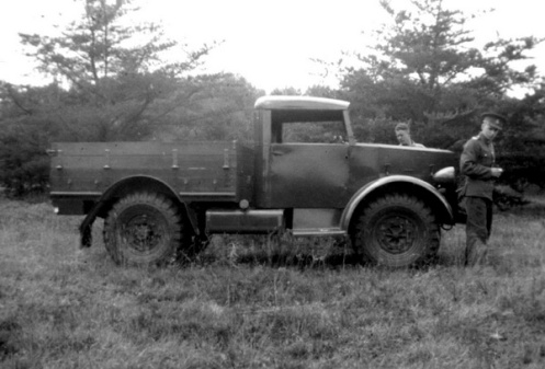 The 1938 Chevrolet 15cwt General Service pilot during trials held at Petawawa Camp. The truck is shown, pristine, in its new livery of 'Dulux' No, 22 paint. The trial was to ensure that the pilot met the specifications laid out by DND, including the ability to tow field artillery. August 1938. MilArt photo archives