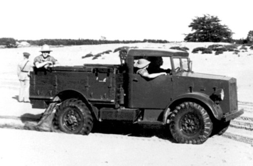 The trials at Petawawa Camp included use of the truck as a cable-layer. Just visible, behind the cab, is the top of the Mark II cable-layer. August 1938. MilArt photo archives