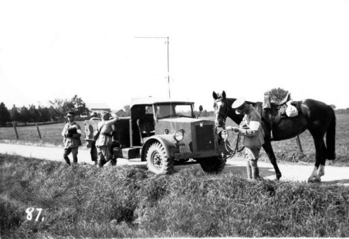 The old and the new meet during a pre-war exercise. Note the jury-rigged antenna. Courtesy Royal Canadian Dragoons Museum and Archives