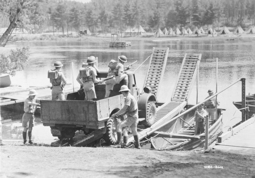 Canadian soldiers on a fording exercise. The Ford truck is identifiable by the tailgate and the headlamps. MilArt photo archives