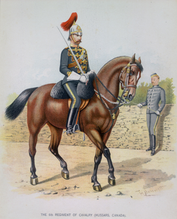 The details of the uniform can be clearly seen in this print by Henry Richard S. Bunnett (1845-1910), a British artist who resided in Canada from 1885 to 1889.