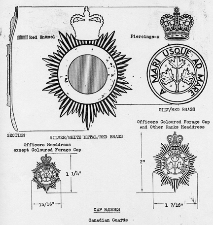 Rank distinctions of the Canadian Guards cap badge.