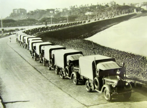 A line-up of the Indian contract 15-cwt trucks. Ford indicated to DND that they would prefer to produce commercial models instead of the military specification truck. MilArt photo archives