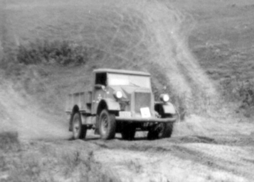 """Driver training at Camp Borden. Note the 'L' plate on the front bumper to indicate """"Learner'"""