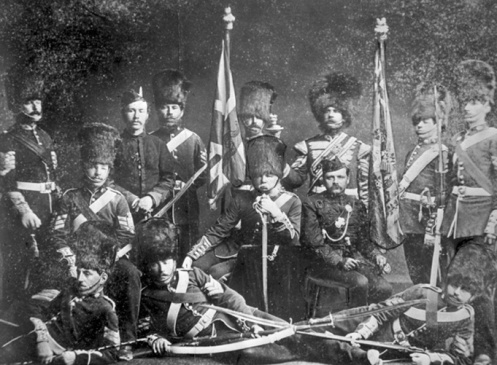 Officers, Warrant Officers and Sergeants of the Governor General Foot Guards, ca. 1873. Lt-Col Ross is shown seated, centre.