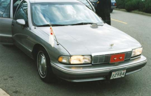 Staff car for Major-General Stu MacDonald with the a swallowtail (borrowed from the author) and a two-maple leaf licence plate.