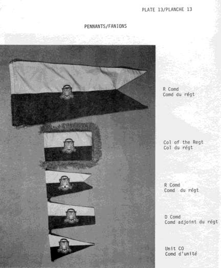 From the Canadian Airborne Regiment's Standing Orders. The selection of pennants available to various officers of the Regiment.