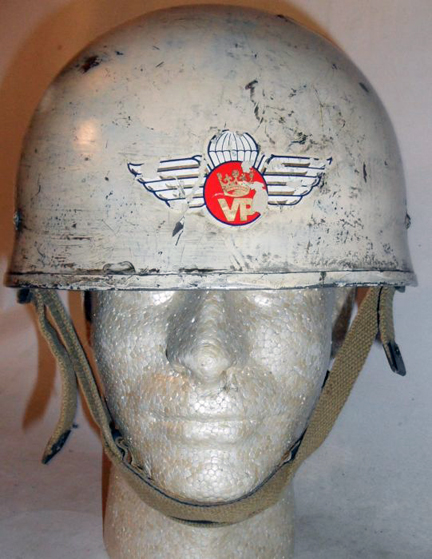 This white painted helmet with the PPCLI's insignia began life as a Helmet Steel Airborne Troops Mk.I, but was later converted to a Mk.II. Author's collection