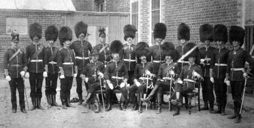 Officers of the Regiment, ca 1885. Note the three officers in cocked hats. These are the Medical Officer, Quartermaster and Paymaster who, as non-combatant officers, did not wear the bearskin cap.