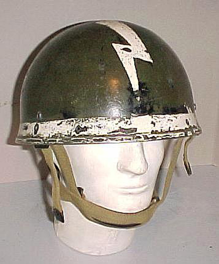 This converted DR helmet was later fitted with a new liner and a web Mk.II harness. Peeling away some subsequent coats of paint revealed markings similar to the soldiers exercising at Malton. Author's collection