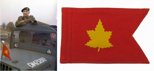 Pennant identifying a Divisional Commander, shown here used by Maj-Gen Worthington