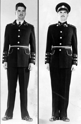Possibly the most innovative proposals included these two examples. They differ primarily in the collar styling. Cuffs, shoulder straps and trousers would exhibit regimental colours.