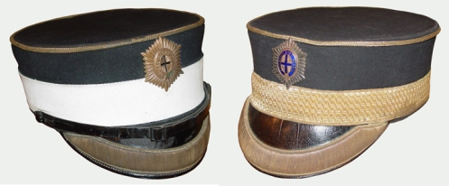 Left, Sergeants forage cap, right, Warrant Officer's forage cap. Courtesy GGFG Regimental museum