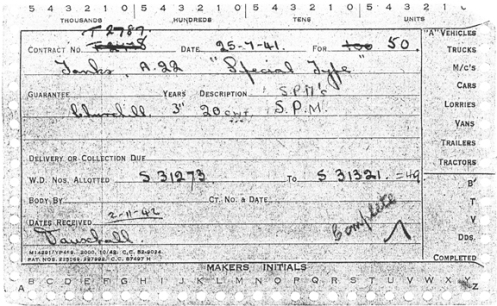 "The initial contract card for Contract No. T.2787, dated 25 July 1941, for 100 (later amended to 50) Tanks, A22, ""Special Type"" (Carrier, Churchill, 3-inch Gun, Mk I), that was placed with Vauxhall Motors Ltd. Also recorded on the card, is the block of Census Numbers assigned , S31273 - S31321, along with the completion date of 2 November 1942. Source: author's collection."