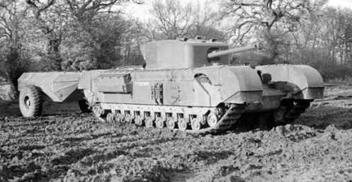 "The use of the tank mounted ""Oke"" flamethrower by the Calgary Regiment at Dieppe, although rudimentary in nature, led to development of a more advanced model, of a tank-mounted flamethrower, again based on the Churchill chassis, which came to be known as the Churchill Crocodile, seen pictured here. The flame projector on the Crocodile, replaced the hull mounted machine gun, and had a range of 80 to 120 yards. The armoured fuel trailer, held 400 gallons of flame fuel and enough compressed nitrogen propellant for 80 one second bursts of flame through the flame projector. This trailer was connected to the tank by a three-way armoured coupling and could be jettisoned from within the tank if necessary. Source: Authors' collection."