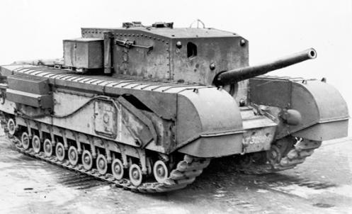 In this right side view, it can be seen, that in appearance, the Carrier, Churchill, 3-inch Gun Mk I resembled a standard Churchill Mk III tank, but without the turret. Note the large fixed box-type superstructure, which housed the main fighting compartment, with the gun mounted low down at the front to the left of the driver's position. As can be seen, the hull sides retained the square escape doors (with circular pistol port) of the Churchill Mk III, the tracks were fully covered, and the engine air intake louvres (on the hull sides) had the opening on top. The anti-aircraft mounting for the .303-inch Bren (Mk I) machine gun, can be seen stowed just above the circular pistol port in the vertical side plate of the superstructure. Also, of note, in this photo, the 3-inch gun, is at full elevation, the position it would be locked in when the Carrier was travelling, in order to prevent damage to the gun. Source: author's collection.
