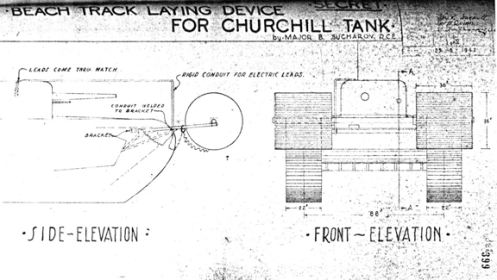 "A sketch of Major Sucharov's design for the ""Beach Track Laying Device,"" dated 25 August 1942. Note the location of the rigid conduit, which had to be added for the protection of the wiring for the electrically fired small explosive charges, that released the rolls, and for those that jettisoned the whole device, and its path, back to the turret. Source: R.C. Harley."