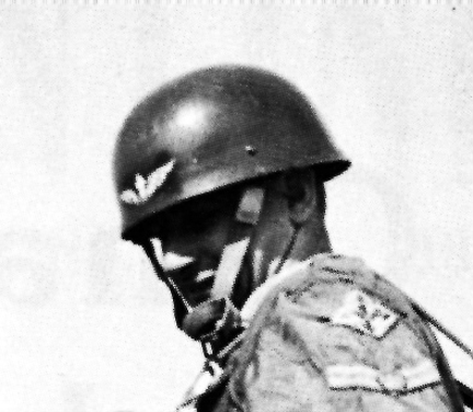 The RCE helmet, shown above, photographed being worn in service.