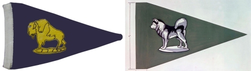 Left, Pennat flown by Brig Kay, GOC 19 Mil Group 1954 to 1958. Right, Authorized vehicle pennant for the GOC, Alaska Highway System.