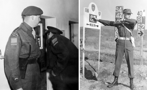 Left, An Officer of the Royal Winnipeg Rifles wearing a blackened second pattern holster in keeping with Rifles' tradition, ca. 1945.  Right, an immaculately turned out 'Provost' directing traffic in South Korea, 1952.