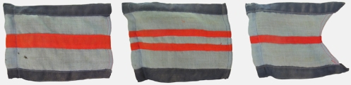 RCAF/RAF pennants denoting (left to right) Group Captain, Wing Commander, Squadron Leader. Courtesy Royal Westminster Regiment Museum
